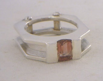 Pink Tourmaline Handmade Sterling Silver Gents Mechanical Style Ring size 8.25
