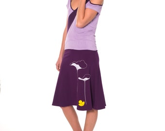 Plus Size Skirts . Women Cotton Skirt . Purple Cotton Skirt . A-line Casual Skirt . Applique Skirt -Lotus leaves and a little duck