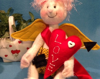 Original Prototype Collectible Handmade Cloth Doll Cupid