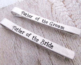 Father of the Bride Tie Clip - Father of the Groom Tie Clip -  Wedding Party Gifts - Tie Bars