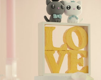 cat and kitty Wedding Cake Topper---k885