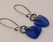 Boho Royal Blue Earrings, Cultured Sea Glass Earrings, Casual Fun Earring , Blue Sea Glass Earrings, Gunmetal Boho Earrings, Modern Jewelry
