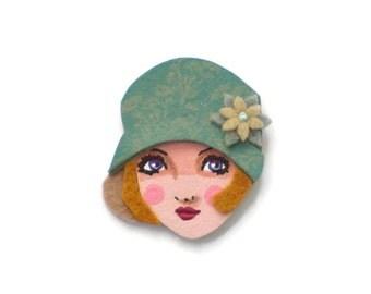 Jazz age flpper girl fabric brooch, Felt Brooch, retro brooch, Wearable Art Jewelry, Mother's Day Gift