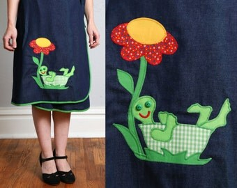 SALE- 70s Turtle Wrap Skirt