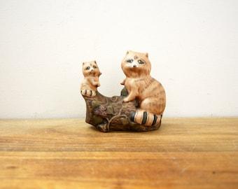vintage 70s Sweet Momma & Baby Raccoon on Log Figurine- Woodland Perfect  // Retro Shelf Decor