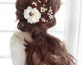 bridal headpiece, fall wedding hair accessories, burgundy flower headpiece, bridal hair clip, marsala, bridal hairpiece, ivory flower hair