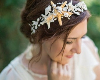 seashell headpiece, seashell headband, seashell hair accessories, starfish headpiece, seashell crown, starfish hair piece, beach wedding, #9