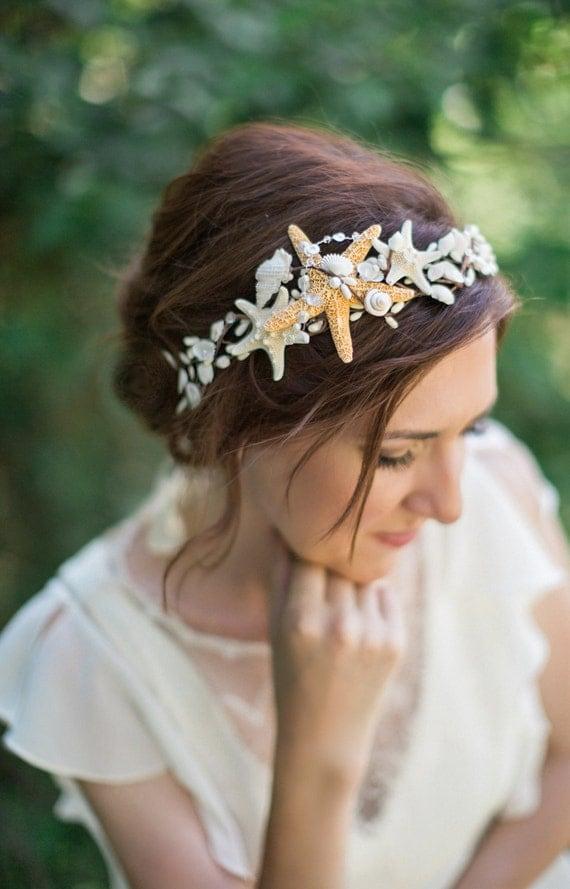 seashell headpiece, seashell headband, seashell hair accessories, starfish headpiece, seashell crown, starfish hair piece, beach wedding, #9