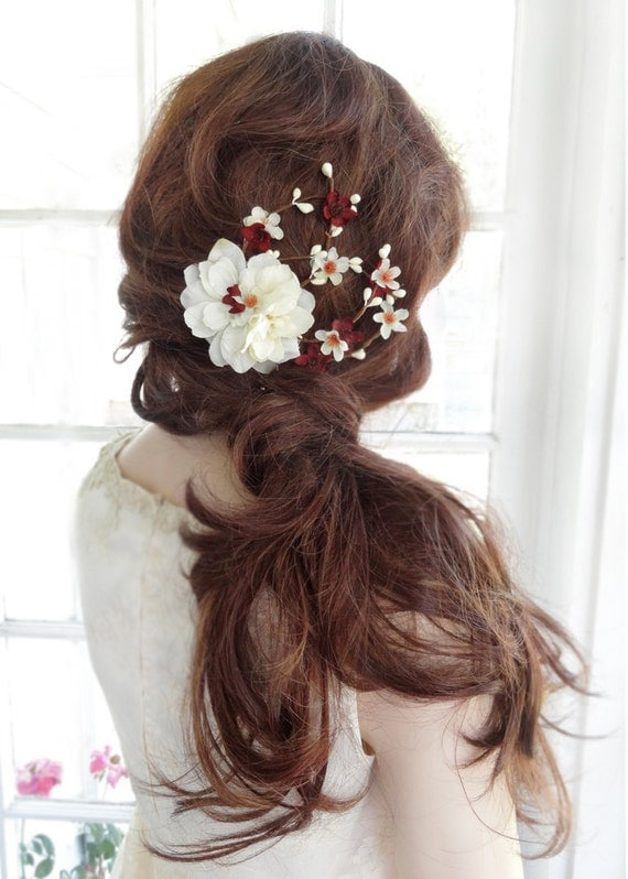 Fall Hair Accessories Burgundy Flower For Hair By Thehoneycomb