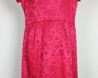 Vintage Red Floral Damask Dress Holly Hill 50s 60s S M