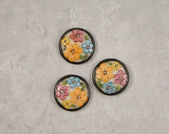 Floral Buttons set of 3