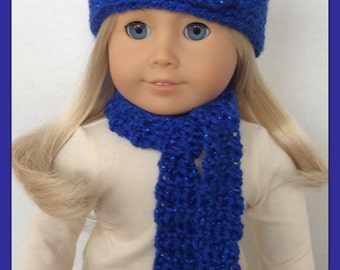 Blue Sparkle Crochet Hat and Scarf Set Made For American Girl Dolls