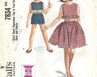 1960s McCall's 7834 Vintage Sewing Pattern Girl's Cropped Top, Midriff Top, Shorts, Full Skirt Size 12