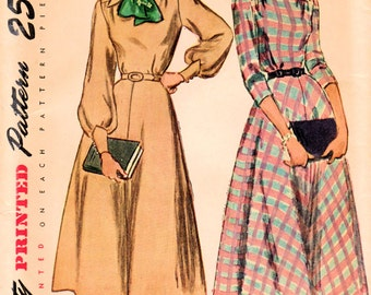 1940s Simplicity 2584 UNCUT Vintage Sewing Pattern Misses Afternoon Shirtwaist Dress Size 14 Bust 32