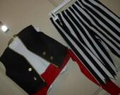 Pirate costume, 4 pcs., Sz 1-5, pants midcalf and jagged, sash, blk vest, headgear.