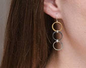 Minimal earrings Sterling silver and gold vermail triple long hoop earrings