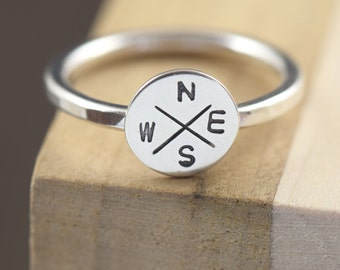 Travel ring Compass ring compass rose rings unisex ring sterling silver ring stacking ring