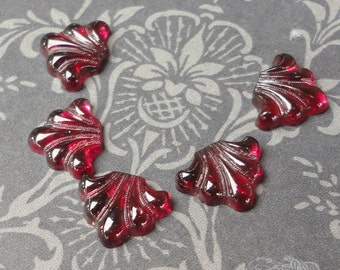 Vintage Glass Cabochons - 11x9mm Transparent Ruby Deco Fan - 5 Unfoiled Flat Back Glass Cabs