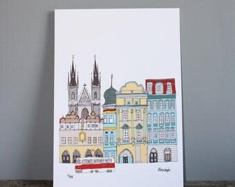 Prague Skyline Print - A3 Illustration - Prague Cityscape - Prague Landmarks - Wedding Gift - Prague Gift
