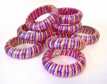 vintage napkin rings - rainbow tinsel ribbon napkin ring set - 9 pieces