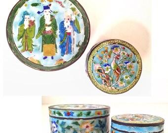 vintage box - round metal enameled lid Asian jewelry keepsake boxes - set of 2