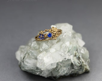 Twig ring - royal blue OOAK