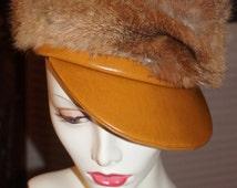 Vintage Mod Hip Hop Brown Faux Leather Natural Rabbit Fur Hat Cap