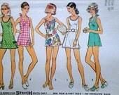 Vintage 70's Simplicity 5696 Sewing Pattern, Misses' Mini-Dress or Bathing-Suit, Halter Bathing-Suit & Panties, Size 14, 36 Bust, Retro Mod