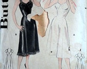Bias Cut Slip, Tailored or Lavished with Lace, Butterick 6994 Vintage 50's Sewing Pattern, Size 20, 38 Bust