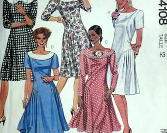 Vintage 1980's McCall's 4108 Sewing Pattern, Misses' Dress, Size 12, Bust 34, Uncut Factory Folded