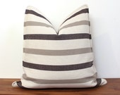 "20"" Pillow Cover in Black and Gray Linen stripe - Custom sizes available - Neutral - Linen Pillow Cover - Stripes - Gray"