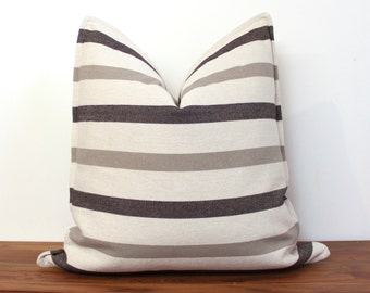 """20"""" Pillow Cover in Black and Gray Linen stripe - Custom sizes available - Neutral - Linen Pillow Cover - Stripes - Gray"""