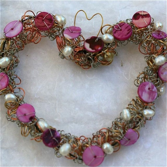 heart  romantic wreath pink fuschia white pearls wire wrapped and beaded ornament gift romantic mothers day wedding