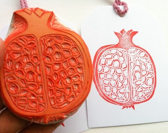 pomegranate hand carved rubber stamp, fruit stamp, handmade rubber stamp, diy wrapping paper, diy card making