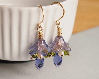 Mauve Glass Flower Earrings, 14kt Gold Filled Beaded Earrings, Freshwater Pearls, Swarovski - WISTERIA