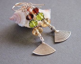 Crystal Glass Beaded Earrings,Sterling Silver Green, Brown,Citrine Yellow, Fan Charm, Autumn - FALLING