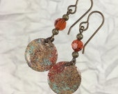 Painted Earrings with Indian Red Crystals