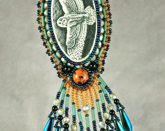 Necklace, bead embroidery, beaded, owl, scrimshaw, blue, amber necklace