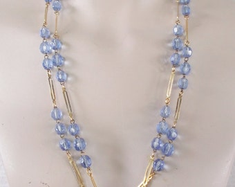 1970s Vintage Long Gold Tone with Clear Blue Beads Necklace