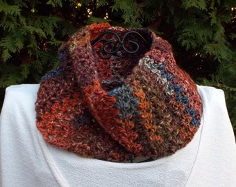 Infinity Scarf, Womens Cowl in Maple Leaf Multicolor, Circle Scarf, Ladies Neck Warmer, Winter Scarf, Fashion Scarf, Gift for Her