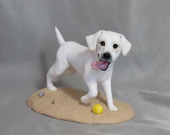 Custom Made Clay single Dog Wedding Cake Topper Sculpture Yellow Labrador Lab running at the beach!