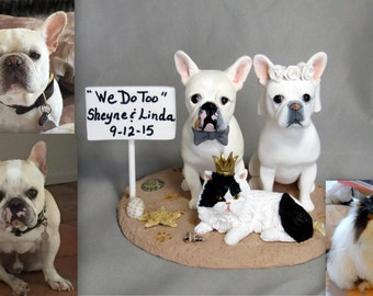 Custom Clay DOG Wedding Cake Topper Bride Groom French Bulldogs Persian Cat