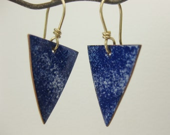 Cobalt Blue Enameled Earrings