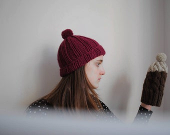 SALE! Hand knit Wool Hat - Chunky Cherry Beanie - Bobble Hat