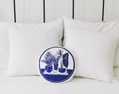 Potted Plant Scene / Mini Round Pillow // Nursery Decor // Blue and White // Botanical Leaf Print // Gift for Baby Shower // Throw Pillow