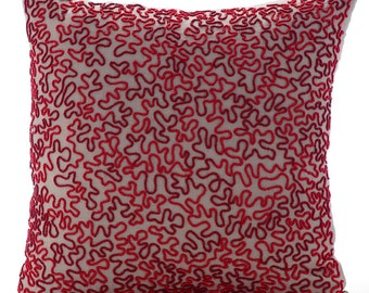 "Mocha Pillows Cover, Square  Read And Maroon Scroll Sea Creatures Ocean & Beach Theme 16""x16"" Cotton Linen Pillowcase - Blooming Maze"