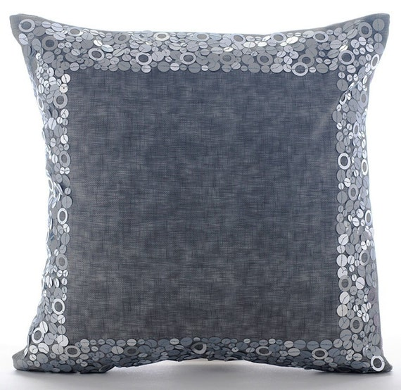 Luxury Grey Throw Pillows Cover 16x16 Faux