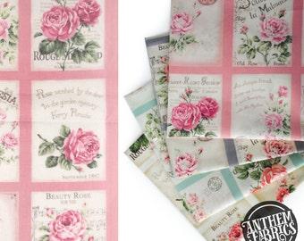 Quilt Gate Rose Bouquet - RURU Rose for You - Postcard QG222011B Pink, 1 panel