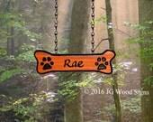 Dogbone Addon - Custom Carved Redwood Sign Addon - Dogbone with Pawprints