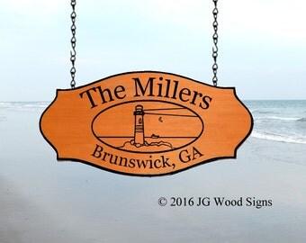 Beach Family Name Sign - Cedar Custom Wooden sign - Custom Cottage Sign Miller
